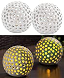 Lunartec Leuchtkugel Keramik: Kabellose LED-Dekoleuchten aus Keramik im 2er-Set (Keramikkugeln mit...