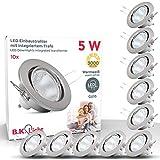 B.K.Licht I 10er Set schwenkbare LED Einbaustrahler I inkl. 5W GU10 Leuchtmittel I 400lm I...