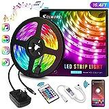 LED Streifen 5M, RGB LED Strip steuerbar via App, Led Bänder 16 Millionen Farben, Sync mit Musik,...