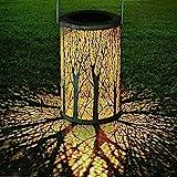 LED Solar Laterne für Draußen, GolWof Solar Garten Hängende Laterne Zylinderförmige Nachtlicht...