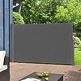 [pro.tec] Seitenmarkise 160 x 300 cm Grau Witterungsbeständig Sichtschutz Markise Sonnen- &...